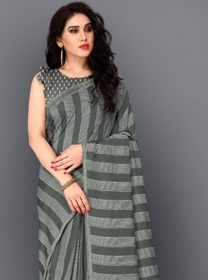 Manipuri Silk Thread Work Trendy Saree in Grey