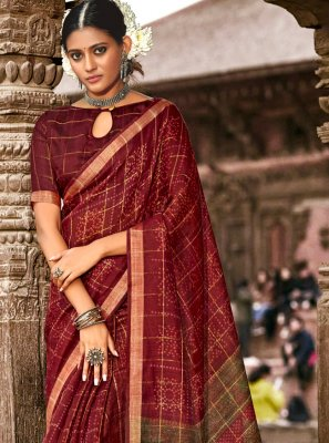 Maroon Abstract Print Casual Printed Saree