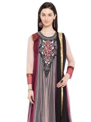 Maroon and Pink Color Readymade Anarkali Salwar Suit