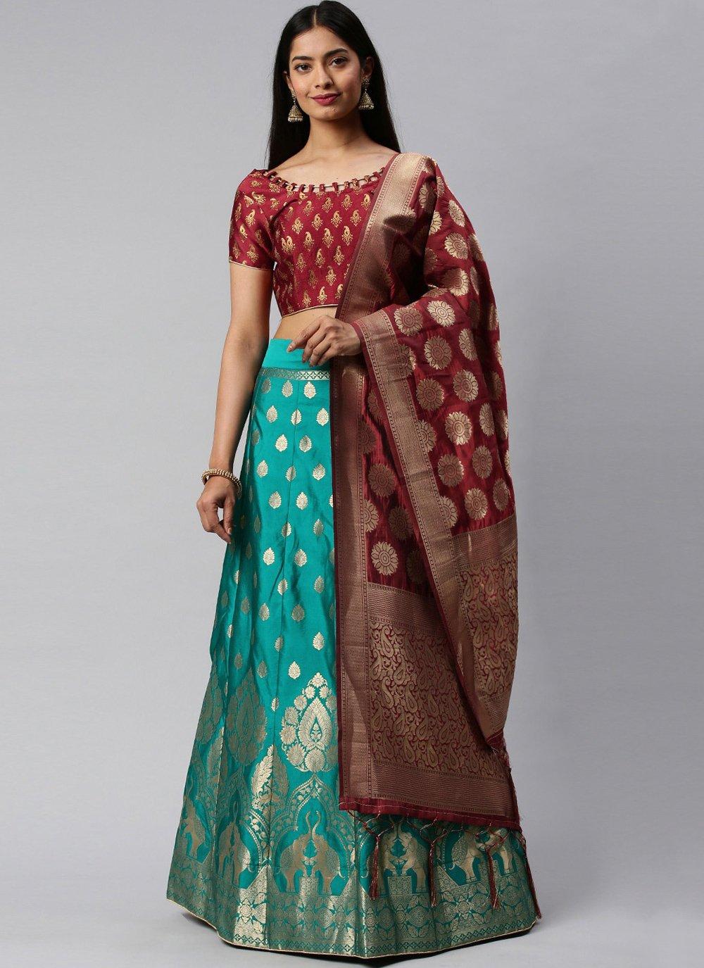 Maroon and Sea Green Weaving Banarasi Silk Lehenga Choli