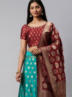 Maroon and Sea Green Weaving Banarasi Silk Lehenga Choli
