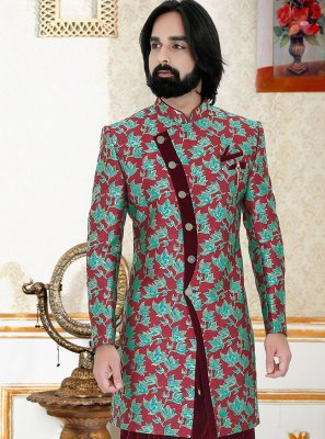 Maroon and Teal Color Indo Western