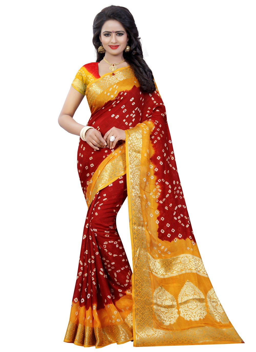 Maroon and Yellow Art Silk Fancy Designer Traditional Saree