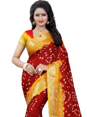 Maroon and Yellow Art Silk Fancy Designer Traditional Saree