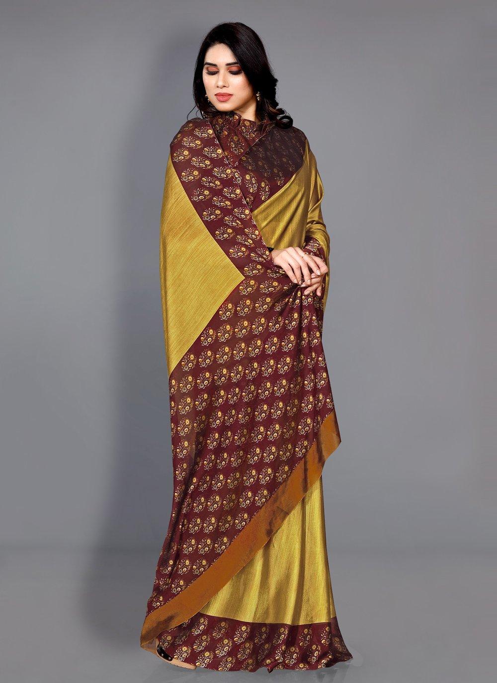 Maroon and Yellow Faux Chiffon Traditional Saree