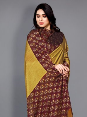 Maroon and Yellow Faux Chiffon Traditional Saree