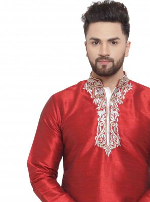 Maroon Art Dupion Silk Embroidered Kurta