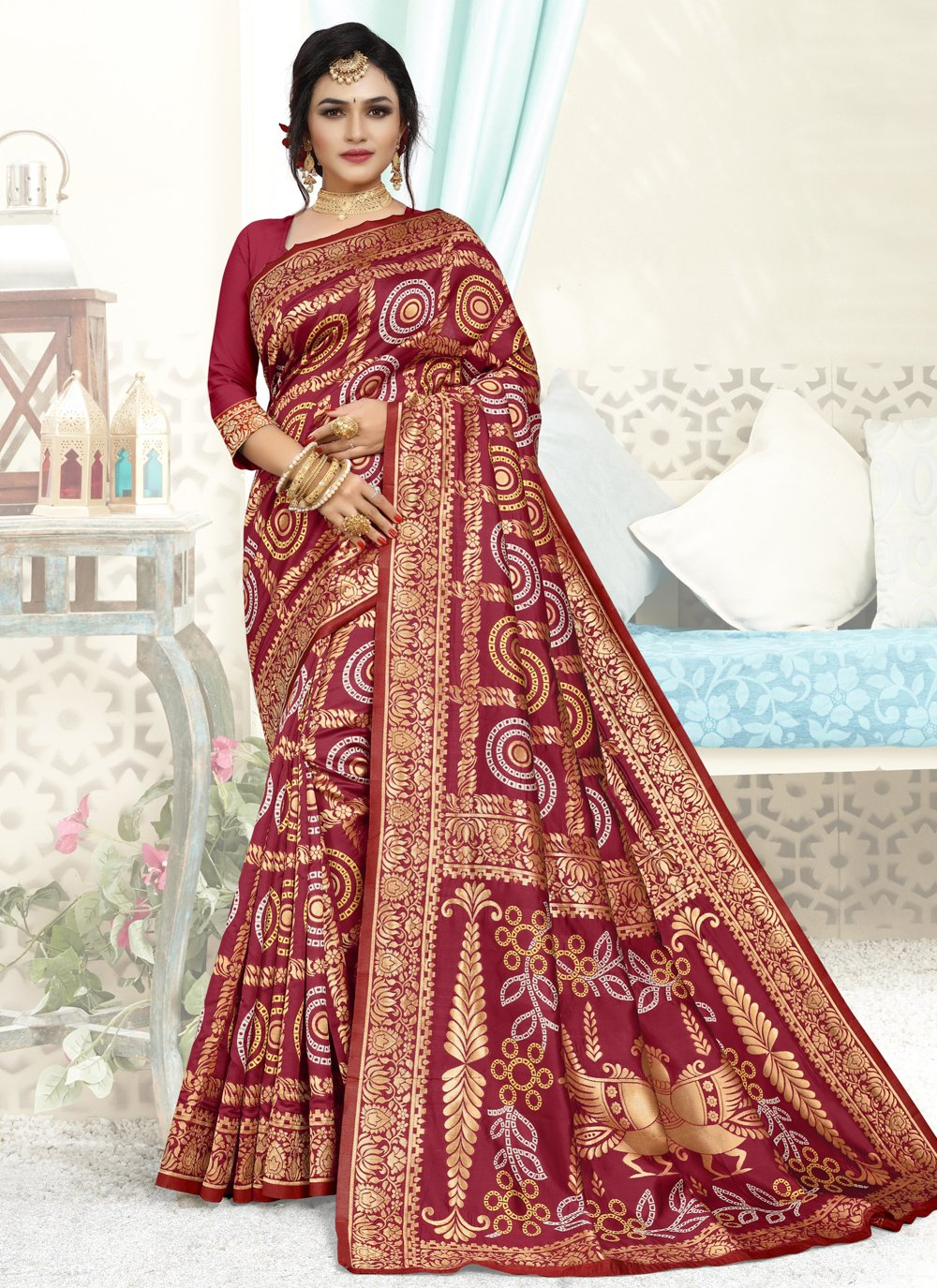 Maroon Art Silk Festival Designer Traditional Saree