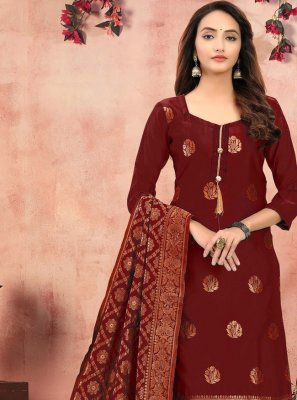 Maroon Banarasi Silk Churidar Salwar Suit