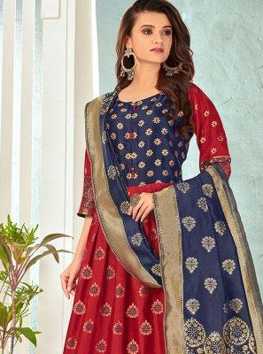Maroon Banarasi Silk Embroidered Anarkali Salwar Kameez