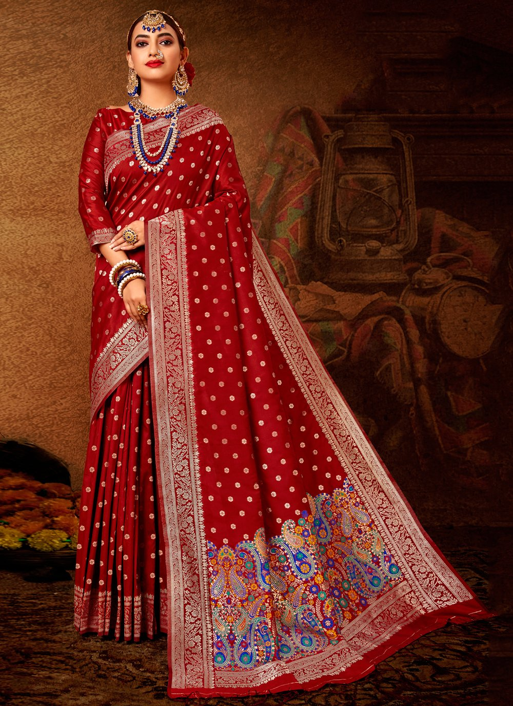 Maroon Banarasi Silk Weaving Designer Traditional Saree