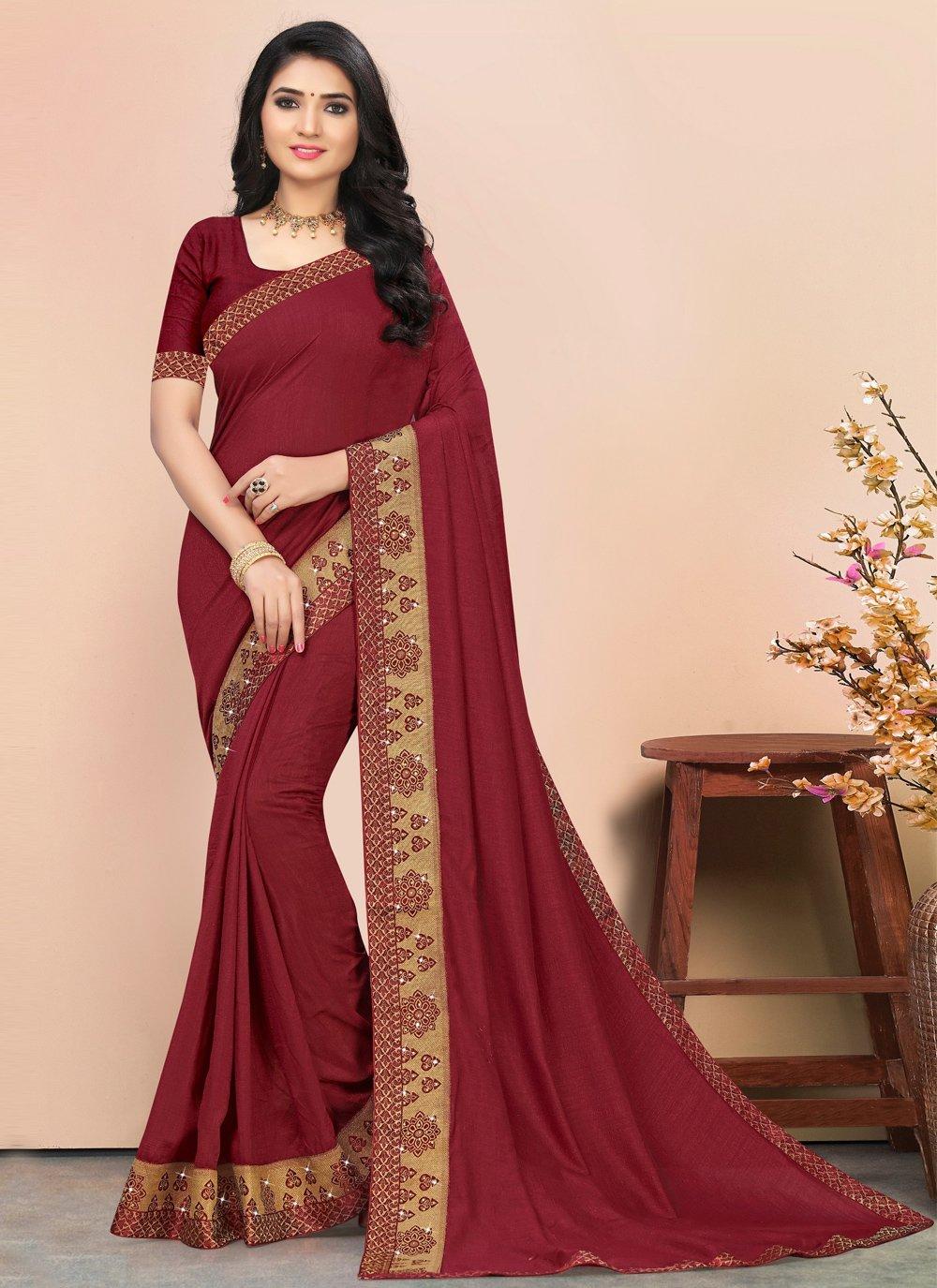 Maroon Casual Designer Saree