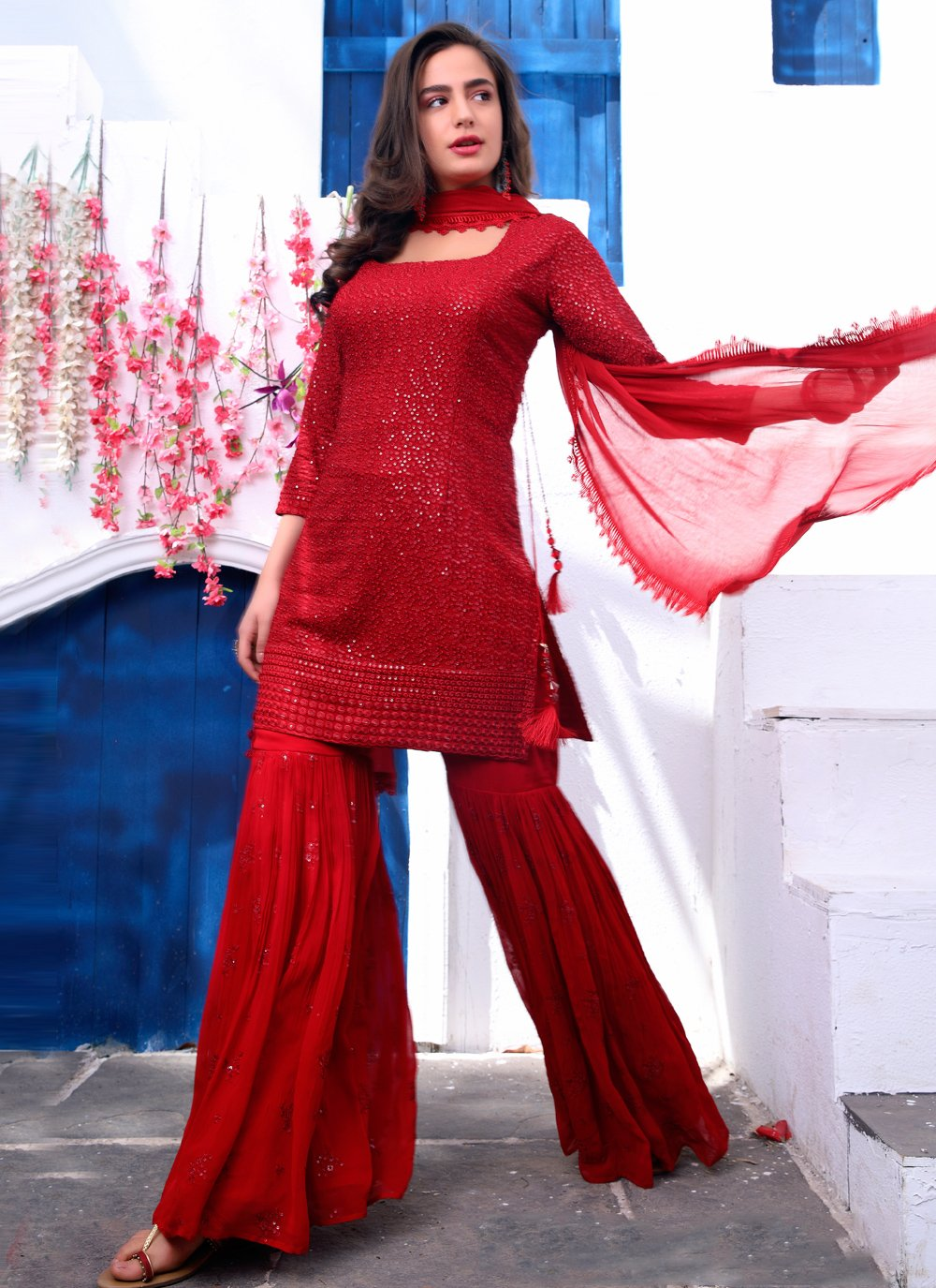 Maroon Ceremonial Faux Georgette Readymade Suit