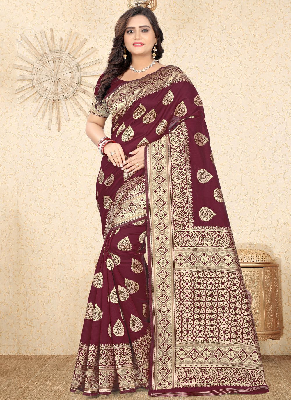 Maroon Ceremonial Traditional Saree