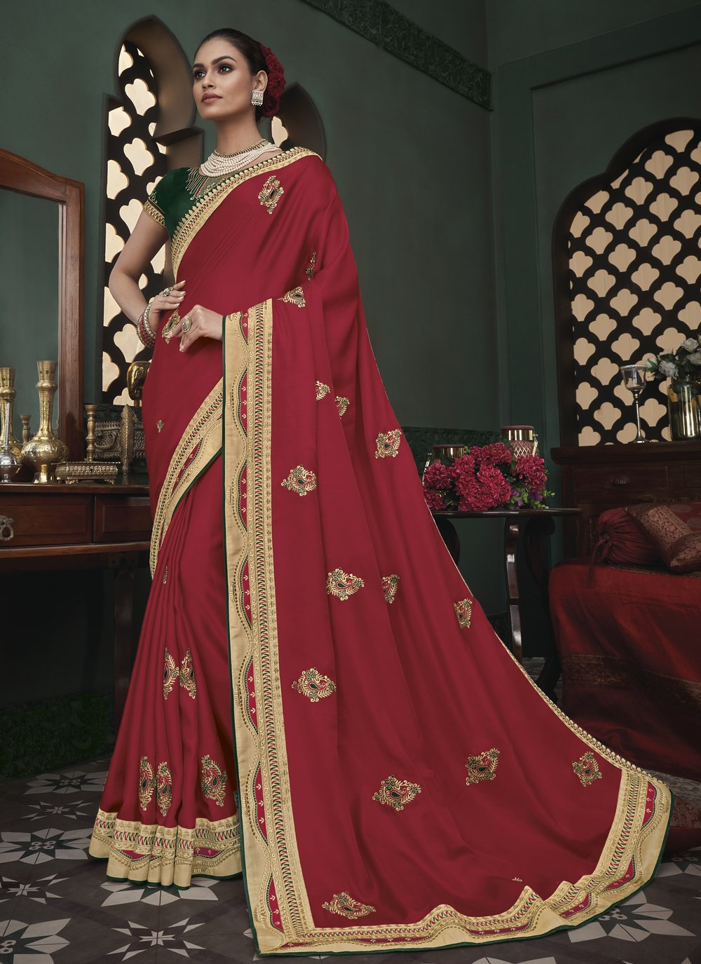 Maroon Ceremonial Trendy Saree