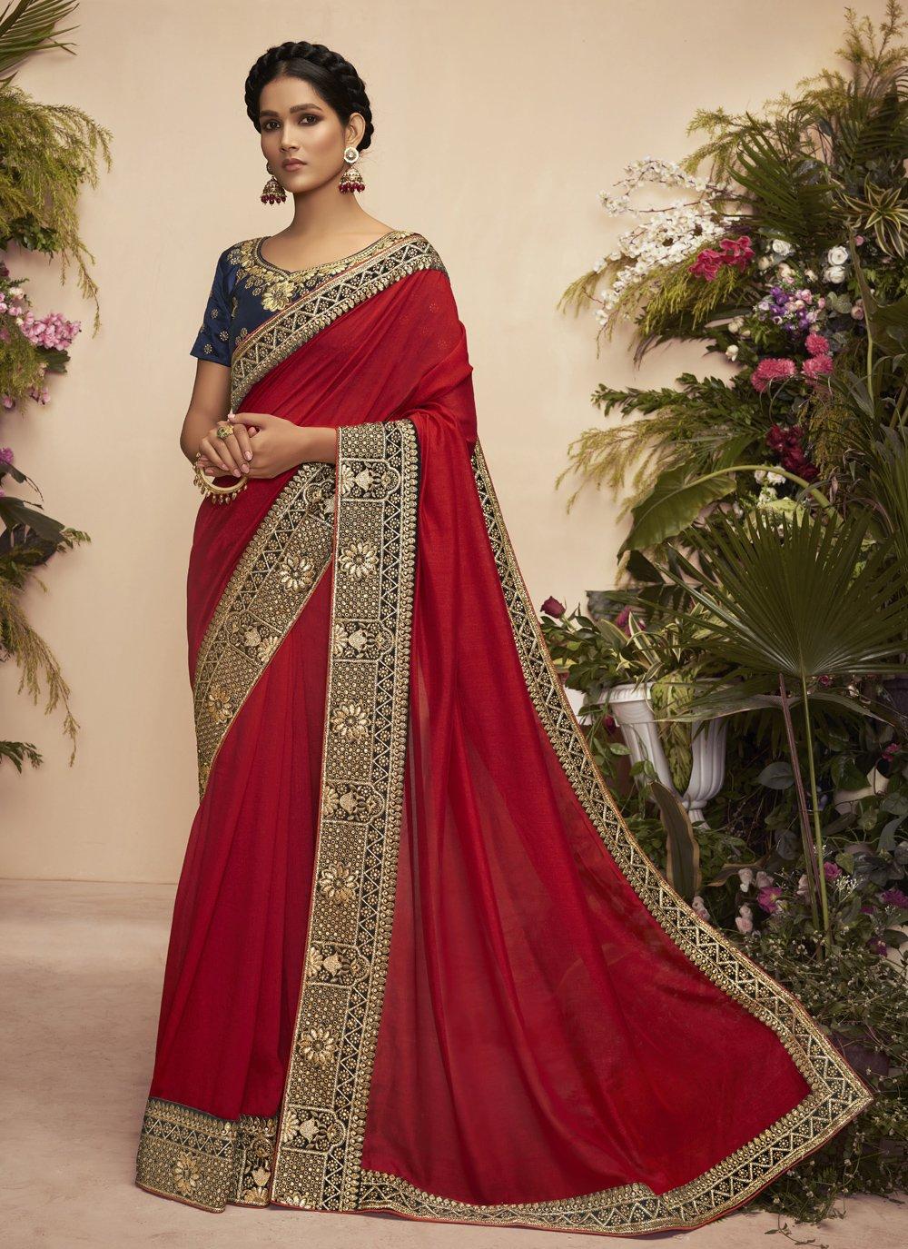 Maroon Chanderi Designer Traditional Saree