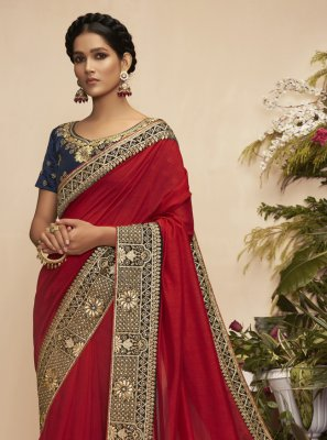 Maroon Chanderi Designer Traditional Saree