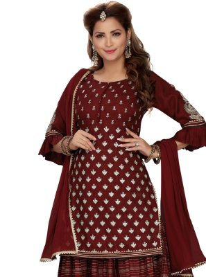 Maroon Chanderi Readymade Suit