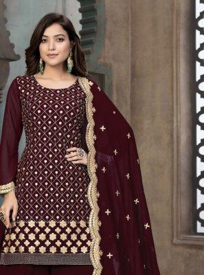 Maroon Color Designer Pakistani Suit