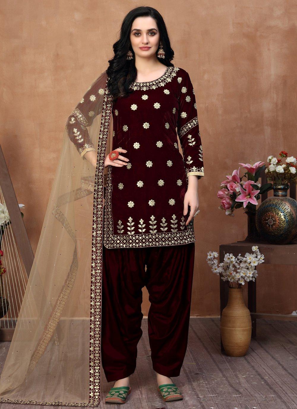 Maroon Color Designer Patiala Salwar Kameez