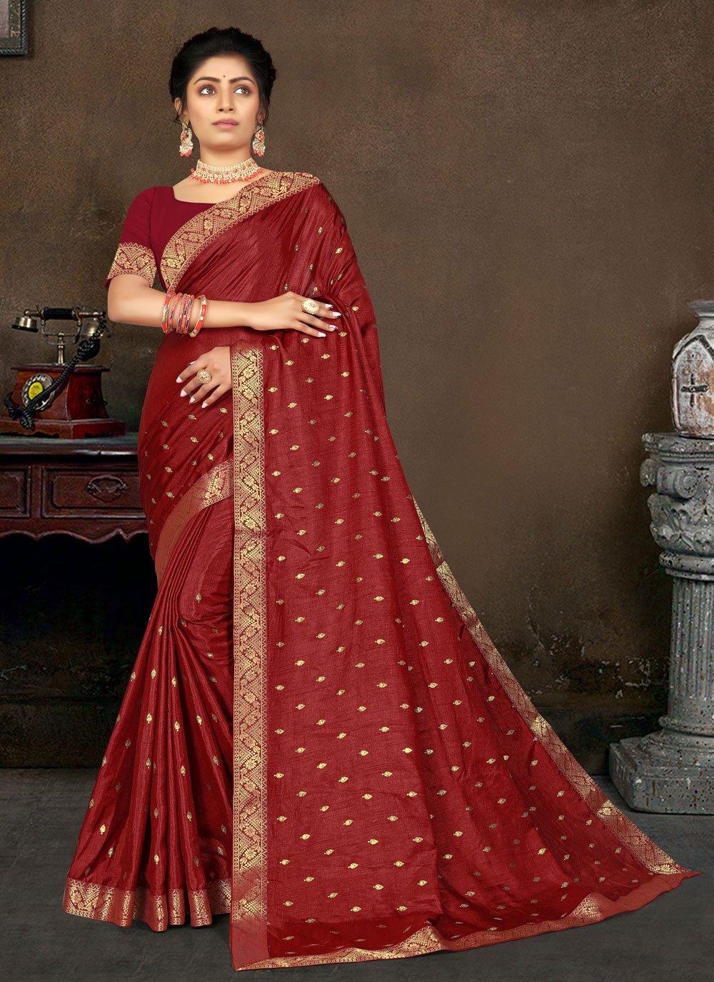 Maroon Color Designer Traditional Saree