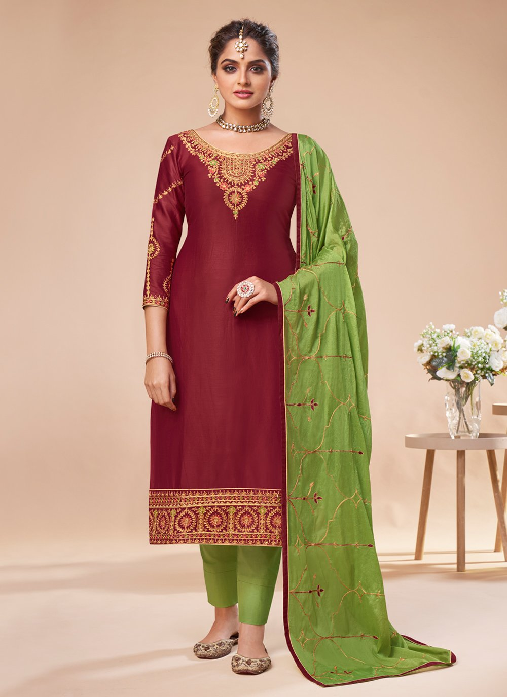 Maroon Color Pant Style Suit