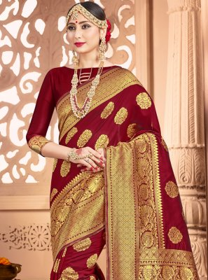 Maroon Color Traditional Designer Saree