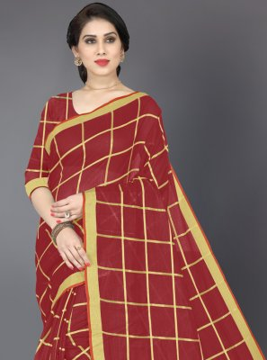 Maroon Cotton Casual Saree