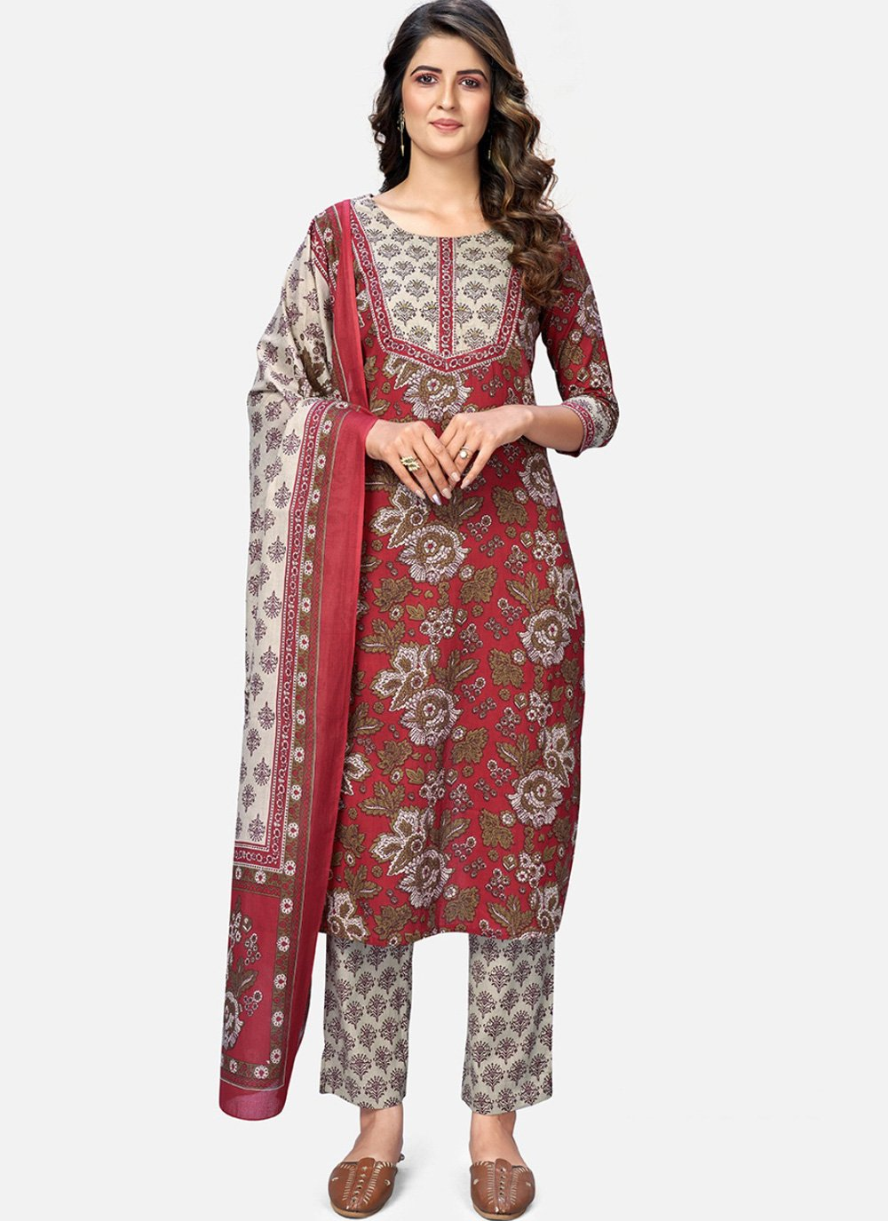 Maroon Cotton Readymade Suit