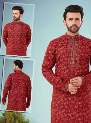 Maroon Cotton Silk Reception Kurta Pyjama