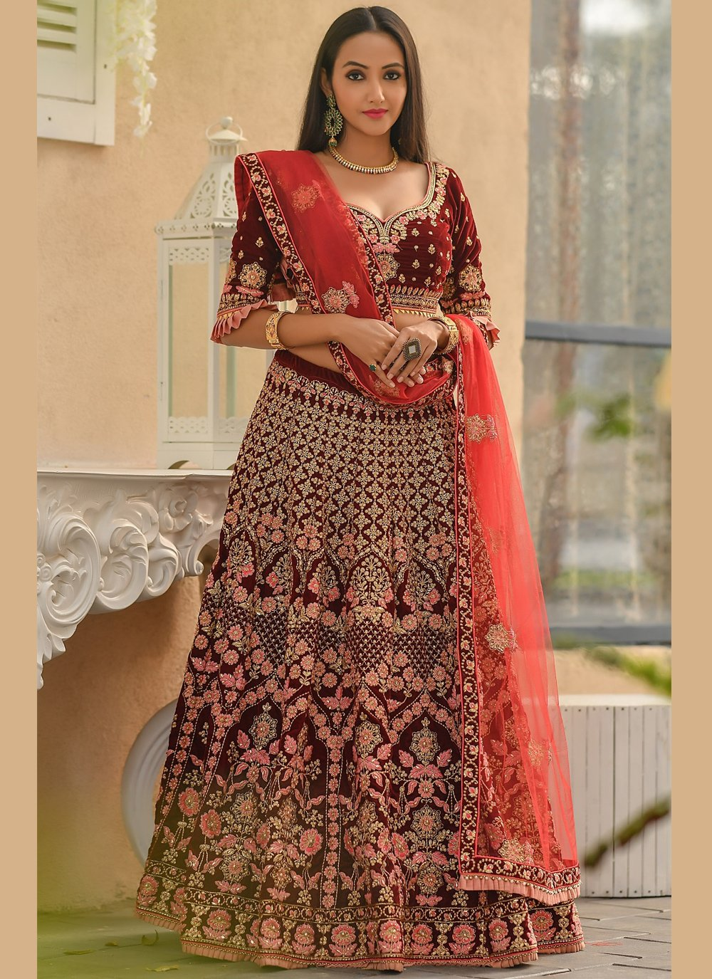 Maroon Embroidered A Line Lehenga Choli
