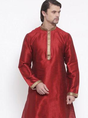 Maroon Embroidered Art Dupion Silk Kurta Pyjama