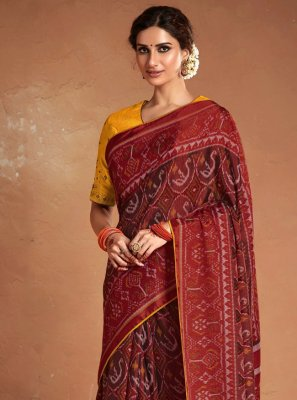 Maroon Embroidered Ceremonial Designer Saree