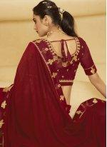 Maroon Embroidered Ceremonial Designer Traditional Saree