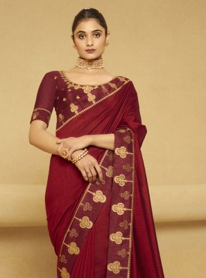 Maroon Embroidered Ceremonial Designer Traditional Saree