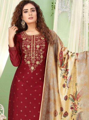 Maroon Embroidered Ceremonial Straight Salwar Kameez