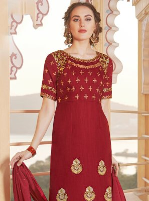 Maroon Embroidered Chanderi Designer Straight Suit