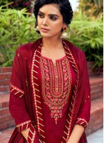 Maroon Embroidered Cotton Silk Bollywood Salwar Kameez