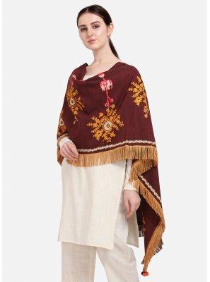 Maroon Embroidered Designer Dupatta