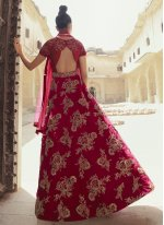 Maroon Embroidered Designer Gown