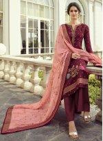 Maroon Embroidered Designer Pakistani Suit