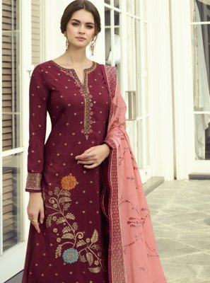 Maroon Embroidered Designer Pakistani Suit