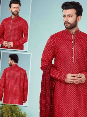 Maroon Embroidered Engagement Kurta Pyjama