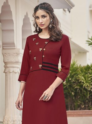 Maroon Embroidered Fancy Fabric Party Wear Kurti