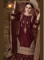 Maroon Embroidered Faux Georgette Designer Palazzo Suit