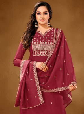 Maroon Embroidered Festival Designer Pakistani Suit