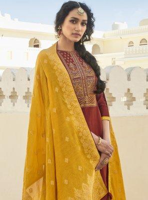Maroon Embroidered Festival Designer Pakistani Suit