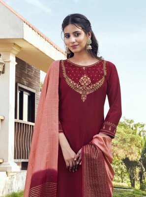 Maroon Embroidered Festival Readymade Suit