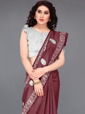 Maroon Embroidered Festival Traditional Saree