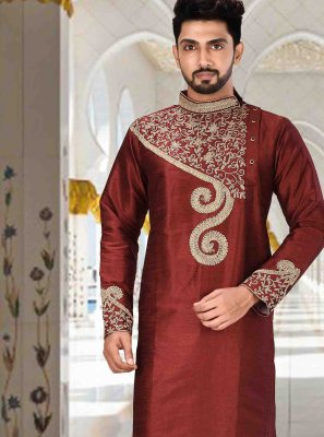 Maroon Embroidered Kurta Pyjama
